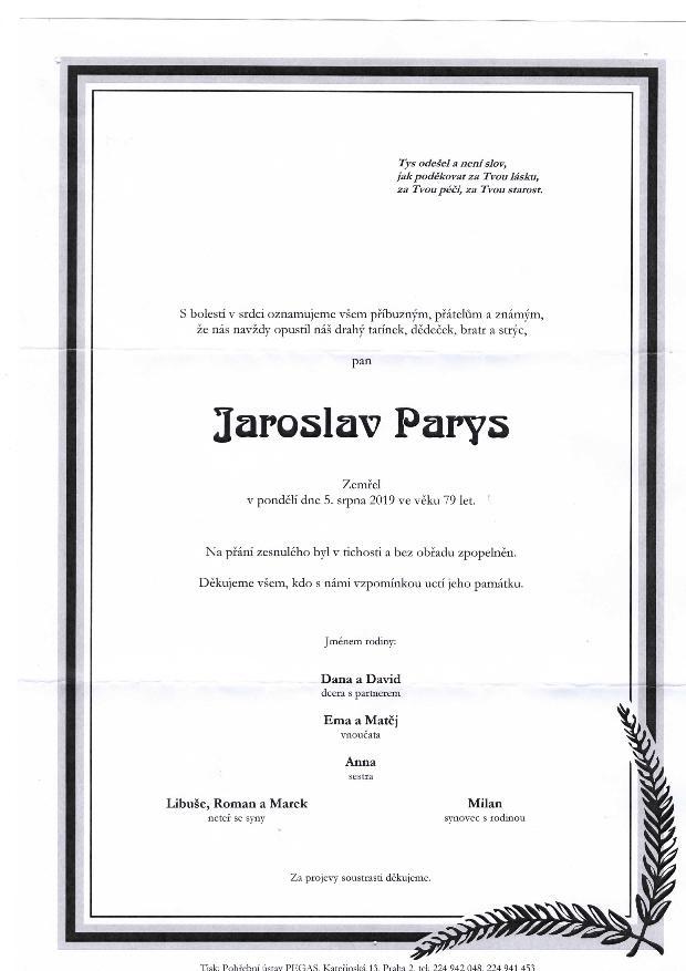 Smuteční oznámení Jaroslav Parys